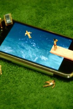 Not actually a pool but iPhone on grass  So weird