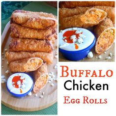 Buffalo Chicken Roll Up Appetizers: Buffalo Chicken Egg Rolls Buffalo Chicken Rolls, Chicken Egg Rolls, Chicken Eggs, Finger Food Appetizers, Appetizers For Party, Appetizer Recipes, Buffalo Recipe, Easy Homemade Recipes, Game Day Food