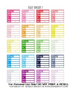 Free Printable Flight Trackers Planner Stickers from myplannerenvy.com