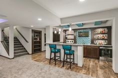 finished basement with bar - Bing images New Homes, Basement Colors, Finished Basement Company, Basement Conversion, Basement Movie Room, Wet Bar Basement, Bar, Room Paint Colors, Home Decor