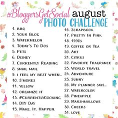 August photo-a-day challenge on Instagram