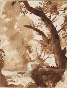 Claude Gellée, dit le Lorrain (Fr. 1600 ou 1604/1605 – 1682), Arbre et rochers près d'un ruisseau, vers 1635, graphite et encre brune,  rehauts blancs, 25,2 cm x 19,3 cm, Haarlem, musée Teyler