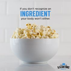 Good thing GH Cretors Organic popped corn only has three delicious ingredients: Organic Popcorn, Organic Sunflower Oil and Salt.