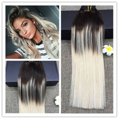 Platinum-Blonde-Ombre-Balayage-European-Human-Hair-Clip-in-Extensions-Thick-End