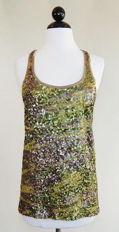 LUCKY BRAND NEW Camo Sequin Racerback Tank Stretch Knit Top Size M #LuckyBrand #TankCami #Casual