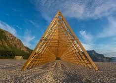 Timber frames that resemble traditional fish-drying racks by Norwegian studio Rintala Eggertsson Architects