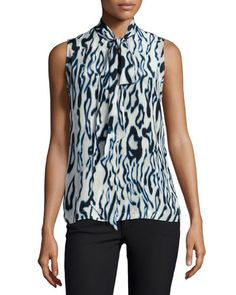 EQUIPMENT Equipment Poppy Sleeveless Tie-Neck Blouse, Marshmallow Multi. #equipment #cloth #