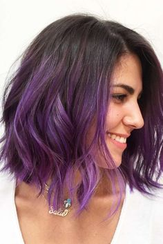20 Balayage Ombre Short Haircuts , Who does not like balayage ombre short haircuts? Here are 20 Balayage Ombre Short Haircuts. Balayage hair is one of many. Dark Purple Hair Color, Ombre Hair Color, Purple Bob, Hair Colour, Short Purple Hair, Purple Style, Purple Hair Tips, Short Dip Dye Hair, Dip Dye Bob