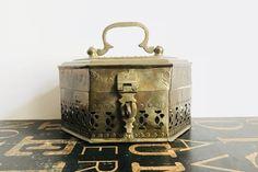 "Vintage Brass Hexagon Cricket Box Marked ""23"", Potpourri box, brass decor, boho decor, bohemian decor, brass cricket box, decorative brass by TheDustyWingVintage on Etsy"
