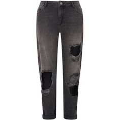 Miss Selfridge Black Extreme Rip Boyfriend Jeans ($52) ❤ liked on Polyvore featuring jeans, black, distressing jeans, ripped boyfriend jeans, distressed boyfriend jeans, destroyed boyfriend jeans and torn jeans