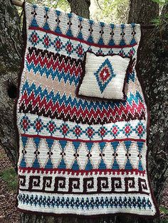 "If you are looking for something a little different to crochet, you have come to the right place! These Native American designs are inspired by ancient cultures and are the perfect addition to any room or comfy chair. Make using worsted-weight yarn in your favorite bold colors. Sizes: Single - 34""W x 65""L; Twin -40""W x 65"" L;"
