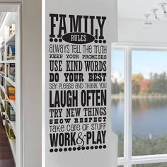 'family rules' wall sticker decal by snuggledust studios | notonthehighstreet.com