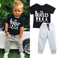 Short Sleeve Black T-Shirt + Grey Pants Beatles Outfit