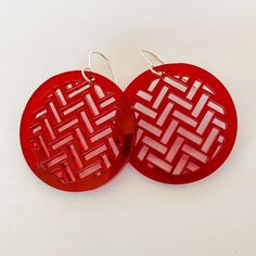 Earrings Red, Taki rua circle Weaving Patterns, Jewelry Crafts, Christmas Ornaments, Detail, Holiday Decor, Earrings, Silver, Red, Style