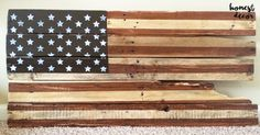 "Rustic, hand distressed 40""x20"" American flag is the perfect decor accent for the office, home, or barn!"