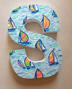 Hand-Painted Sailboat Monogram, Lilly Pulitzer inspired, Paper Mache Letters, Nursery, Nautical Home Decor