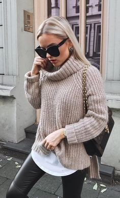 #winter #outfits beige turtle-neck sweater