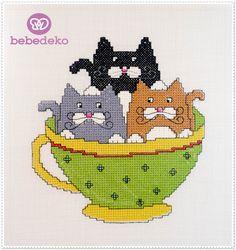 Kanaviçe Kedi Tablo (Cat Cross Stitch Chart) Bebedeko'da özel üretim olan kanaviçe kedi tablo bebeğinizin odasına çok yakışacak.
