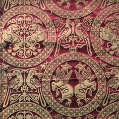 Silk Damask c. Medallion of Henry the Saint This fabric is a reproduction… Tapestry Fabric, Silk Fabric, Textile Fabrics, Textile Patterns, Ottoman Flag, Fabric Stamping, Book Of Kells, Curtain Patterns, 11th Century