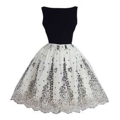 Vintage 1950s Black and White Flocked Chiffon Party Dress ❤ liked on Polyvore featuring dresses, floral print chiffon dress, vintage floral dress, black white dress, floral print dress and floral cocktail dresses
