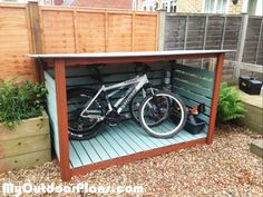 Bike Shed MyOutdoorPlans Free Woodworking Plans and Projects DIY Shed Wooden Playhouse Pergola Bbq Metal Pergola, Diy Pergola, Pergola Kits, Small Pergola, Pergola Swing, Pergola Ideas, Build A Playhouse, Wooden Playhouse, Bike Storage