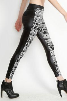 Black/White Aztec Leggings