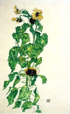 dappledwithshadow: Egon Schiele Sunflowers1917