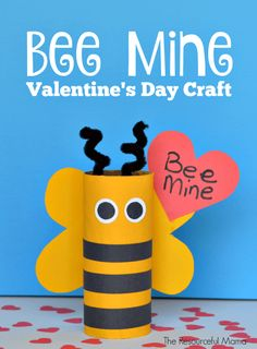"""For Valentine's Day """"Bee Mine"""" children make with recycled toilet paper rolls - Upcycled Crafts DIY Valentines Bricolage, Valentine Crafts For Kids, Valentines Diy, Valentine's Day Crafts For Kids, Toddler Crafts, Art For Kids, Children Crafts, Fall Crafts, Craft Activities"""