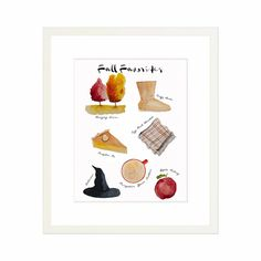 Fall Favorites - framed watercolor illustration by Danielle Driscoll of Finding Silver Pennies #watercolorart #fallfavorites #fallinspiration #homedecor