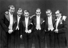 1920′s Mens White Tie Formal Wear  For a evening out to the opera, getting married, dancing at a formal ball, or attending a lavish dinner party meant it was time for men to dress in their finest. 1920′s  men's formal wear kept the traditional top hat and tailcoat as well as added a option for a dinner jacket called a Tuxedo coat today. http://www.vintagedancer.com/1920s/1920s-mens-formal-wear-tuxedos-and-dinner-jackets/