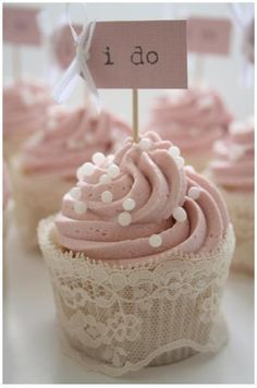 "Elegant wedding cupcakes with lace cover. Simple and elegant handmade pink cupcakes with lace wrappers. Vintage pink ""i do"" wedding cupcakes. Bridal / wedding shower or tea part cupcake ideas. Lace Cupcakes, Bridal Shower Cupcakes, Pretty Cupcakes, Beautiful Cupcakes, Rustic Cupcakes, Sweet Cupcakes, Diy Wedding Cupcakes, Yummy Cupcakes, Pearl Cupcakes"