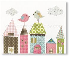 Nursery art prints - baby nursery decor - nursery wall art - kids art - kids bird - kids room decor - house - Up On The Roof print - Baby Baby Nursery Decor, Nursery Prints, Nursery Wall Art, Kids Room Art, Art Wall Kids, Art For Kids, House Quilts, Baby Quilts, Baby Set