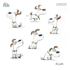 Personagens de Eric Guillon para o filme The Secret Life of Pets Children's Book Illustration, Character Illustration, Cartoon Drawings, Animal Drawings, Secret Life Of Pets, Character Design Animation, Dog Art, Doodles, Sketches