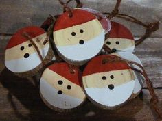 """Set of Rustic Log Slice Snowman Ornaments Available in sets of 3, 5, 10, 15 Each and every one is Hand painted! Hand Cut with Round Hook eye for Hanging *each ornament comes with approx 6"""" twine cord."""