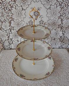 3 Tiered Cake Tray, Layered Cake Stand, Cupcake Tray, Serving Tray, Dessert Tray - Noritake Vasona - Vintage 1920's