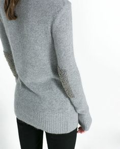 SWEATER WITH RHINESTONE ELBOW PATCHES - Knitwear - WOMAN | ZARA United States