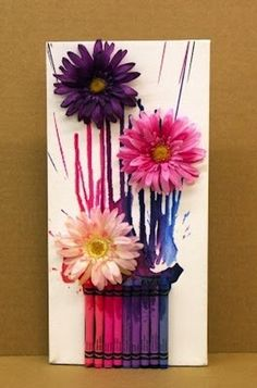 Ben Franklin Crafts and Frame Shop, Monroe, WA: How to: Melted Crayon Spring Bouquet Crafts For Seniors, Fun Crafts For Kids, Arts And Crafts, Senior Crafts, Crayon Crafts, Crafts With Crayons, Spring Bouquet, Melting Crayons, Arte Floral