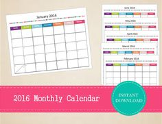 Printable 2017 Half Page Monthly Planner by MBucherConsulting Monthly Planner Printable, Monthly Planner 2018, 2017 Printables, Printable Calendars, Full Year Calendar, 2016 Calendar, Academic Planner, Library Displays, Budgeting