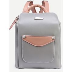 Grey Faux Leather Top Zip Structured Backpack ($21) ❤ liked on Polyvore featuring bags, backpacks, faux leather bag, day pack backpack, grey bag, vegan bags and gray backpack