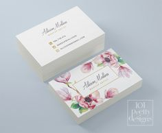 Home Design: Floral business card design, flowers business card template printable business card design watercolor business card, white pink gold