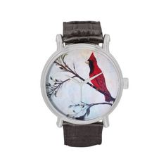 Red Cardinal art design Wrist Watch