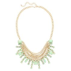 Add a pop of style to evening ensembles and work outfits alike with this stunning gold-plated necklace, showcasing a bib of mint-hued stones.