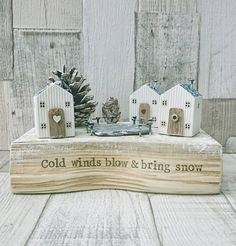 Check out this item in my Etsy shop https://www.etsy.com/uk/listing/546137412/winter-cottage-driftwood-art-winter Christmas Home, Christmas Crafts, Christmas Decorations, Rustic Christmas, Clay Houses, Ceramic Houses, Driftwood Crafts, Wooden Art, Wood Sculpture