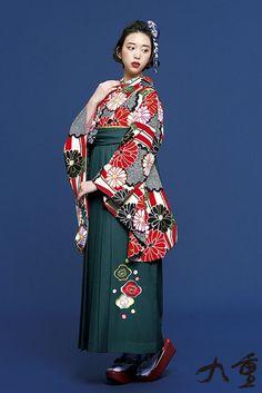 レトロ柄 袴 赤色/緑色 商品画像1