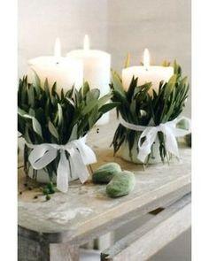Para velas básicas e brancas, você pode prender raminhos com um laço de fita também branco! Fica simples e chique ao mesmo tempo! foto reprodução: A Life Beauty And Grace