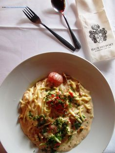 Eating at Haus Heuport, near Domplatz. Pasta chanterelle was a good choice for the summer: not too salty with a milky sauce, maybe with too much flour. European River Cruises, Pasta, Summer, Regensburg, Haus, Summer Time, Summer Recipes, Noodles, Pasta Recipes