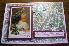Christmas card using Kaszazz Embossing Folder 'Scrollwork' Embossed background card.