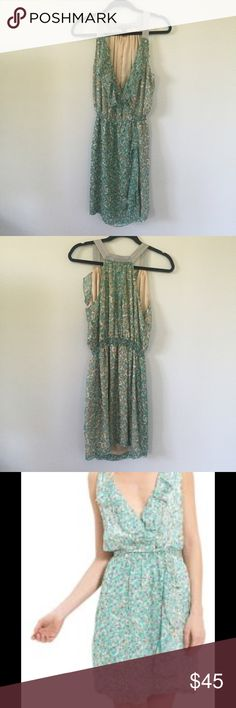 Charlie Jade Ruffle Dress Really pretty turquoise green color with grey,white, and green floral design. 100% silk lining & 100% polyester exterior (straps are a different material). Used but in great condition!! Charlie Jade Dresses Mini