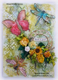 Bumblebees and Butterflies: Summer canvas using Tim Holtz, Ranger, Idea-ology, Sizzix and Stamper's Anonymous products; May 2015