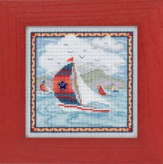 SUMMER BREEZE (MH14-4106) Kit Includes: Mill Hill Glass Beads, Ceramic Button, 14ct Perforated Paper, floss, needles, and chart. *frame sold separately*
